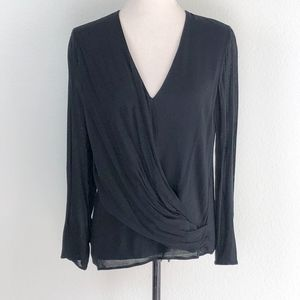 Zara Black Faux Wrap Long Sleeve Blouse Size Small